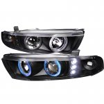 Mitsubishi Galant 1999-2003 Black Halo Projector Headlights with Integrated LED