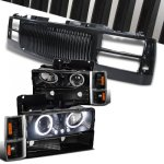 GMC Sierra 1994-1998 Black Front Grill and Halo Projector Headlights Set