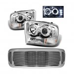 2002 Ford Excursion Chrome Grill and Halo Projector Headlights LED