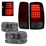 2005 GMC Yukon XL Smoked Clear Headlights and LED Tail Lights Red Smoked