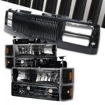 1997 Chevy 2500 Pickup Black Front Grill and Headlights Set