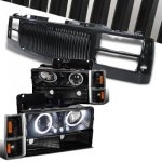 1997 Chevy 2500 Pickup Black Front Grill and Halo Projector Headlights Set