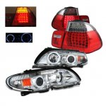 BMW E46 2002-2005 Halo Projector Headlights and LED Tail Lights Red Clear