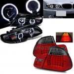 BMW E46 2002-2005 Black Halo Projector Headlights and LED Tail Lights Smoked Red