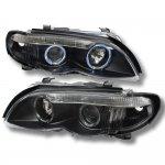 BMW E46 Projector Headlights 2002-2005 3 Series Sedan Dual Halo Black