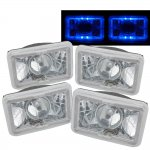 1987 Chevy Cavalier Blue Halo Sealed Beam Projector Headlight Conversion Low and High Beams