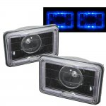 1987 Chevy Cavalier Blue Halo Black Sealed Beam Projector Headlight Conversion