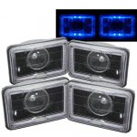 1987 Pontiac Sunbird Blue Halo Black Sealed Beam Projector Headlight Conversion Low and High Beams