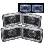 Dodge Ram 50 1984-1986 Halo Black Sealed Beam Projector Headlight Conversion Low and High Beams