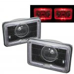 1987 Chevy Cavalier Red Halo Black Sealed Beam Projector Headlight Conversion