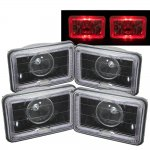 1987 Chevy Cavalier Red Halo Black Sealed Beam Projector Headlight Conversion Low and High Beams