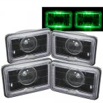 Nissan Maxima 1982-1984 Green Halo Black Sealed Beam Projector Headlight Conversion Low and High Beams