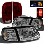 2002 Ford F150 Clear Headlights LED DRL Signal and Red LED Tail Lights