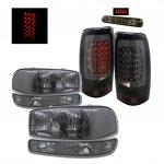 2000 GMC Sierra Smoked Headlights and LED Tail Lights Brake Lights