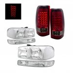2005 GMC Sierra Clear Headlights and LED Tail Lights Red Smoked