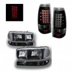 2000 GMC Sierra Black Clear Headlights and LED Tail Lights