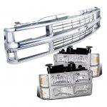 1999 Chevy Tahoe Chrome Grille and Euro Headlights Set