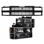 Chevy Silverado 1994-1998 Black Grille and Euro Headlights Set
