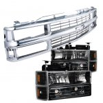 1998 Chevy 3500 Pickup Chrome Grille and Black Headlights Set
