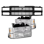1997 Chevy 1500 Pickup Black Grille and Clear Headlights Set
