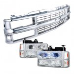 1999 Chevy Tahoe Chrome Grille and Halo Headlights Set