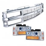 1999 Chevy Tahoe Chrome Grille and Projector Headlights LED Bumper Lights