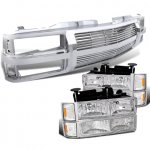 1997 Chevy 1500 Pickup Chrome Billet Grille and Euro Headlights Set