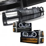 1999 Chevy Tahoe Black Billet Grille and Projector Headlights LED Set
