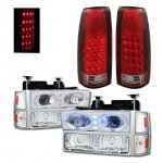 Chevy 1500 Pickup 1994-1998 Halo Projector Headlights and LED Tail Lights Red Clear