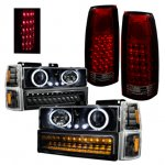 Chevy 3500 Pickup 1994-1998 Black Halo Headlights LED DRL and Tail Lights LED Red Smoked
