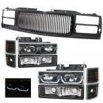 1998 Chevy 1500 Pickup Black Front Grill and LED DRL Headlights Set