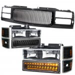 1998 Chevy 1500 Pickup Black Front Grill and Headlights LED Bumper Lights