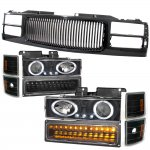 Chevy Silverado 1994-1998 Black Grill and Halo Projector Headlights LED Bumper Lights