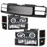1998 Chevy 3500 Pickup Black Front Grill and Halo Projector Headlights Set