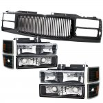 Chevy Silverado 1994-1998 Black Front Grill and Headlights Set