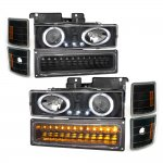 1998 Chevy 3500 Pickup Black Halo Projector Headlights and LED Bumper Lights