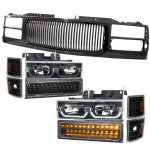 1998 Chevy 3500 Pickup Black Grille and LED DRL Headlights Bumper Lights
