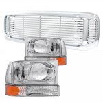 2002 Ford F350 Chrome Front Grill and Headlights Set