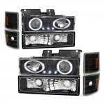 GMC Sierra 1994-1998 Black Halo Headlights and Bumper Lights