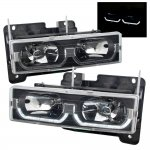 1993 Chevy 1500 Pickup Black Headlights U-shaped LED DRL