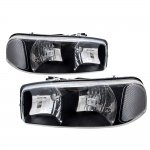 GMC Sierra 2500 1999-2004 Black Euro Headlights
