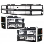 1998 Chevy 3500 Pickup Black Grille and Euro Headlights Set