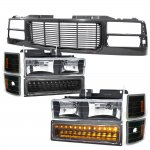 1997 Chevy 1500 Pickup Black Wave Grille and Headlights LED Bumper Lights