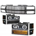 1998 Chevy 3500 Pickup Black Billet Grille and Projector Headlights LED Set