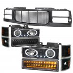 1997 Chevy 1500 Pickup Black Wave Grille and Projector Headlights LED Set
