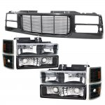 1997 Chevy 1500 Pickup Black Wave Grille and Headlights Set