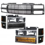 Chevy 1500 Pickup 1994-1998 Black Billet Grille and Headlights LED Bumper Lights