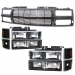 1998 Chevy 3500 Pickup Black Grille Billet Bar and Headlights Set