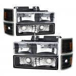 1998 Chevy 1500 Pickup Black Euro Headlights and Bumper Lights Set