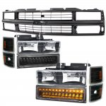 Chevy 1500 Pickup 1994-1998 Black Grille and Headlights LED Bumper Lights